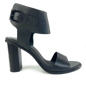 Joie Black Leather Chunky Heels w/ Ankle Strap